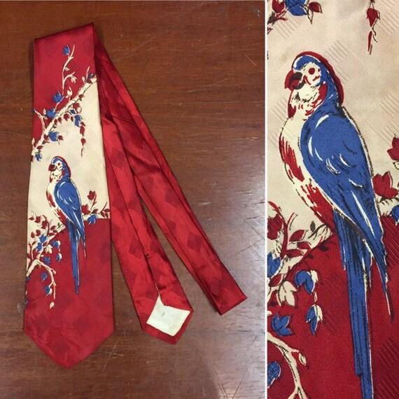 Vintage 1940's Necktie, Parrot Print, 1950's Tie,