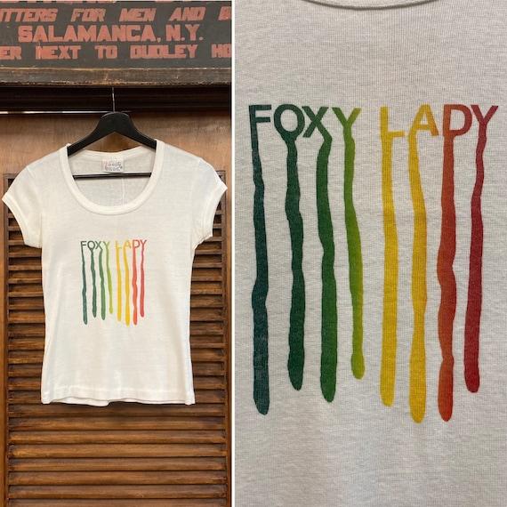 "Vintage 1970's ""Foxy Lady"" Cap Sleeve Tee, 70's Te"