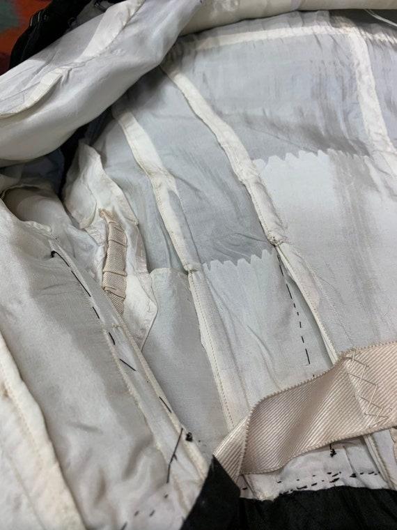 Vintage Victorian Black Silk & Lace Paneled Blous… - image 8