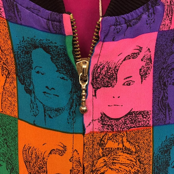 Vintage 1980's Pop Art Faces Bomber Jacket, 1980'… - image 2