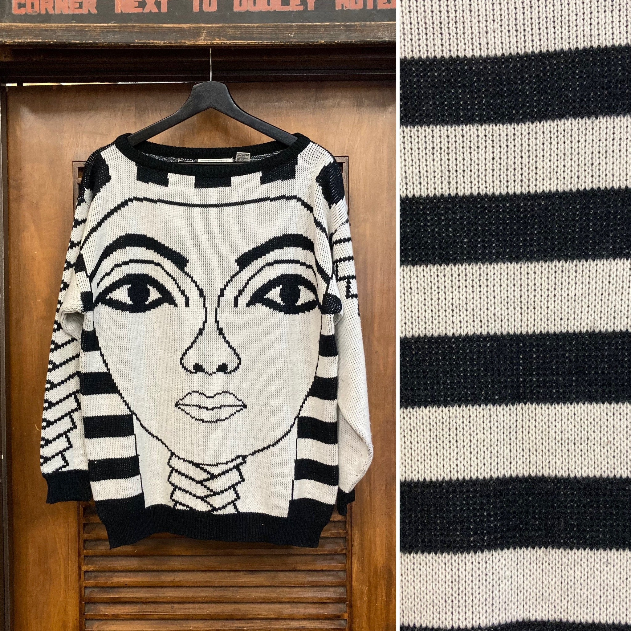 80s Sweatshirts, Sweaters, Vests | Women Vintage 1980s King Tut New Wave Print Knit Sweater, 80s Wave, Ancient Egyptian, Top, Clothing $350.00 AT vintagedancer.com