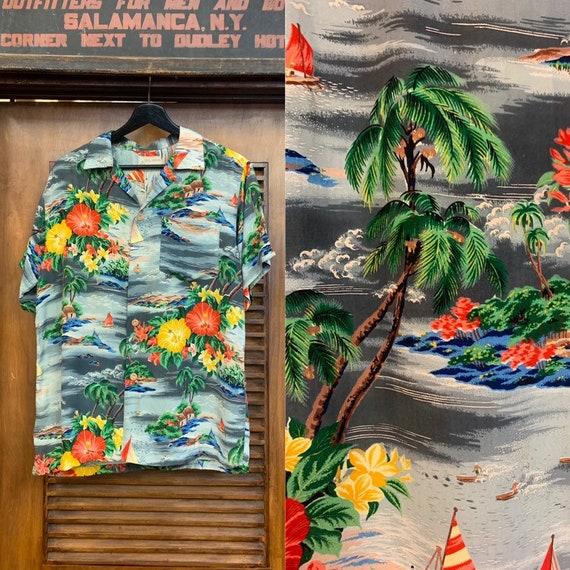 Vintage 1950's Royal Hawaiian Label Tropical Crepe