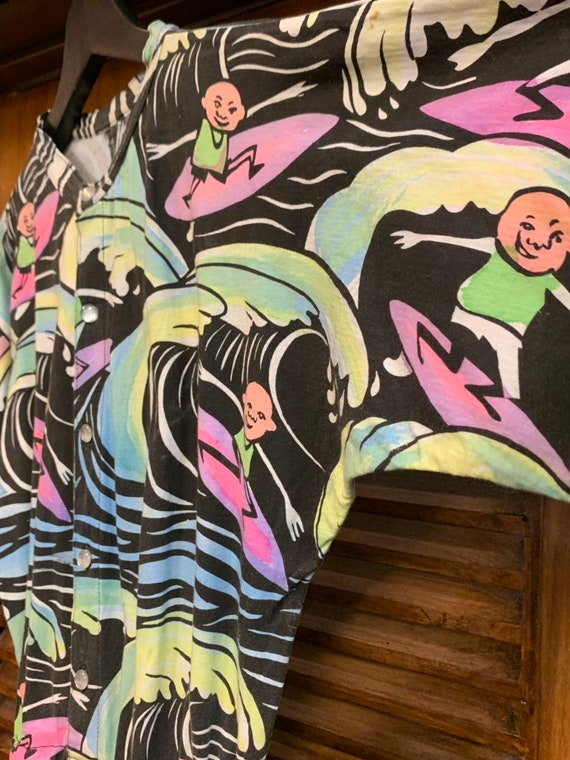 Vintage 1980's Cartoon Surfer Multicolor Romper P… - image 5