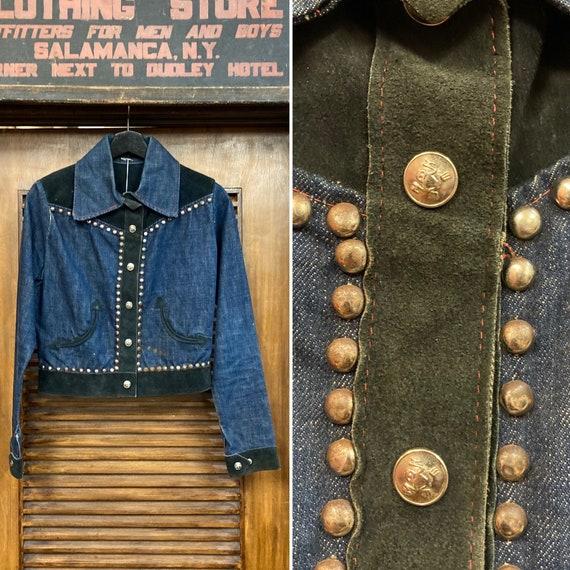 Vintage 1960's Denim and Suede Studded Jacket, 60'