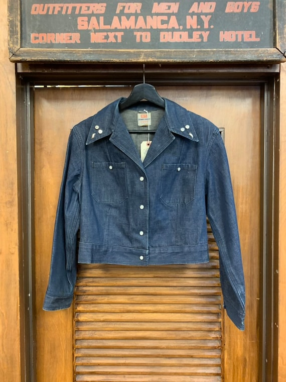 Vintage 1950's Levi's Studded Denim Shirt Jacket,… - image 2