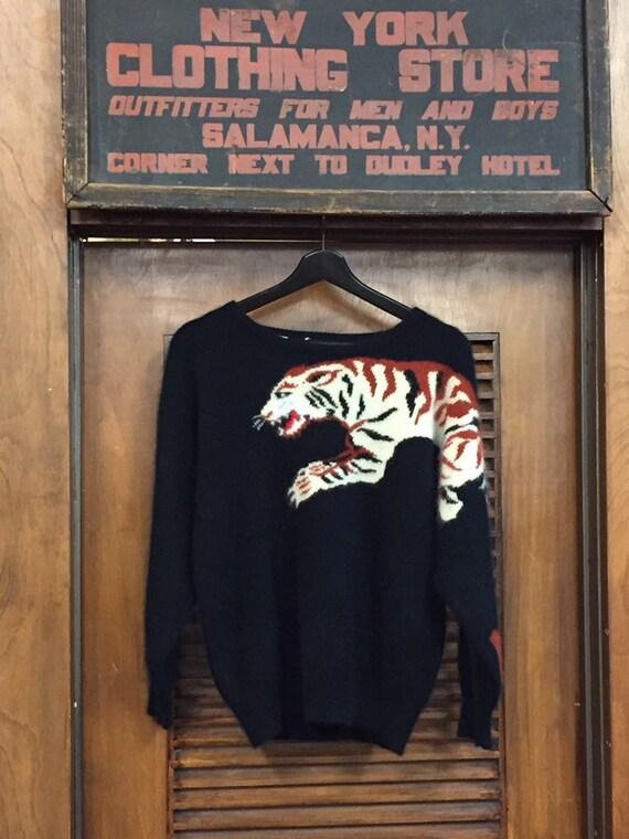 Vintage 1980's Tiger Pattern Angora Blend Sweater,