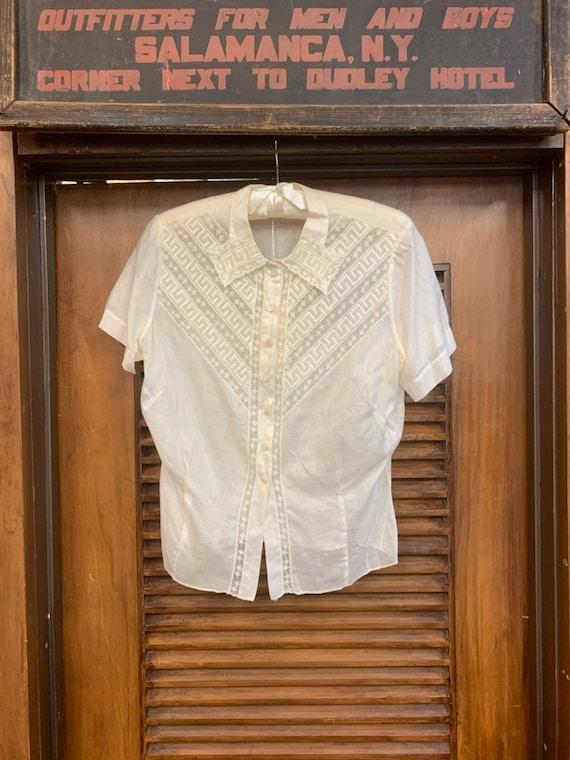 Vintage 1920's Lace & Cotton Blouse, Vintage Clot… - image 3
