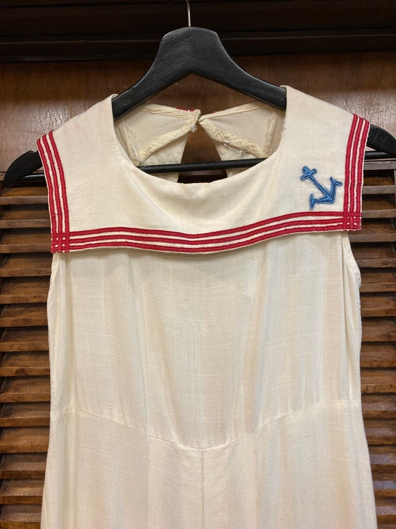 Vintage 1930's White Nautical Navy Sailor Tennis … - image 3