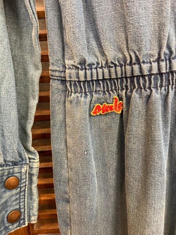 "Vintage 1970's ""Male"" Label Denim Jumpsuit with F… - image 8"