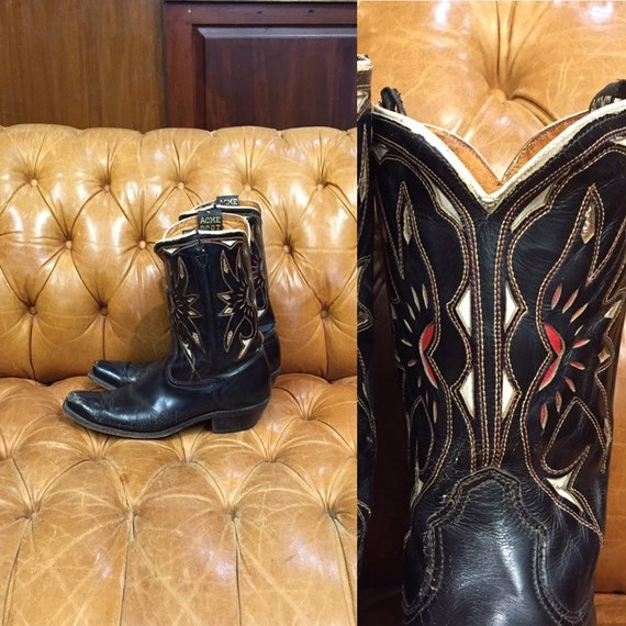 Vintage 1950s, Acme Boots,  Black Leather Cowboy B