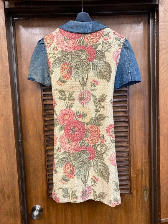 Vintage 1970's Denim Hippie Floral Tapestry Fabri… - image 10
