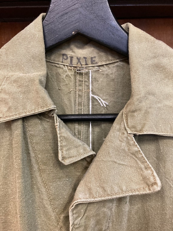 Vintage 1940's Green Military Workwear Coveralls,… - image 7