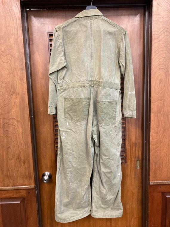 Vintage 1940's Green Military Workwear Coveralls,… - image 10