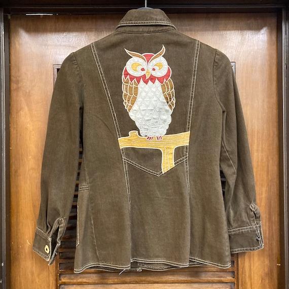 """Vintage 1960's """"Roncelli"""" Label Owl Design Denim … - image 4"""