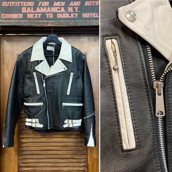 Vintage 1980's U.K. Two-Tone Motorcycle Leather Ja
