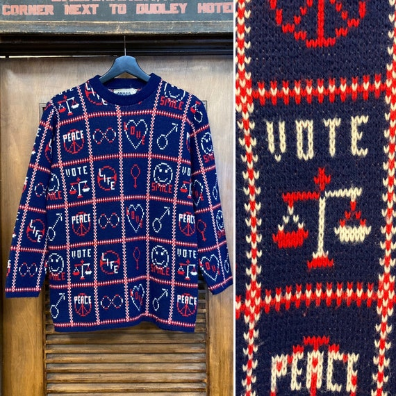 Vintage 1960's Peace and Love Pop Art Sweater, 60'
