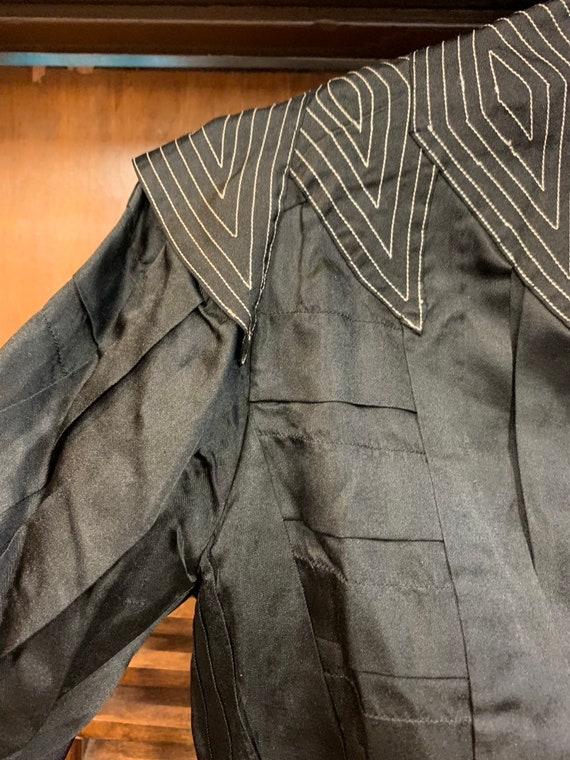 Vintage Victorian Black Silk & Lace Paneled Blous… - image 4