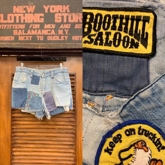 Vintage 1960's Patchwork Denim Shorts, Vintage Clo