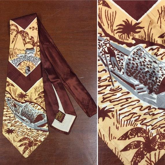Vintage 1940's Necktie, River Boat Print, 1950's T