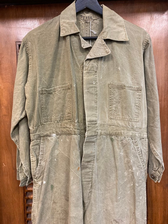Vintage 1940's Green Military Workwear Coveralls,… - image 3