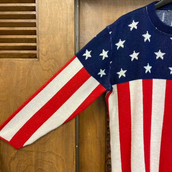 Vintage 1960's American Flag Pop Art Sweater, 60'… - image 5