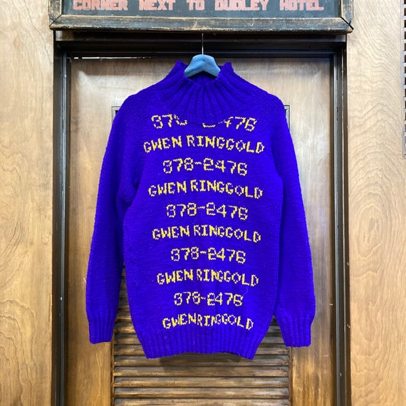 Vintage 1960's Hand Knit Pop Art Phone Numbers Sw… - image 2