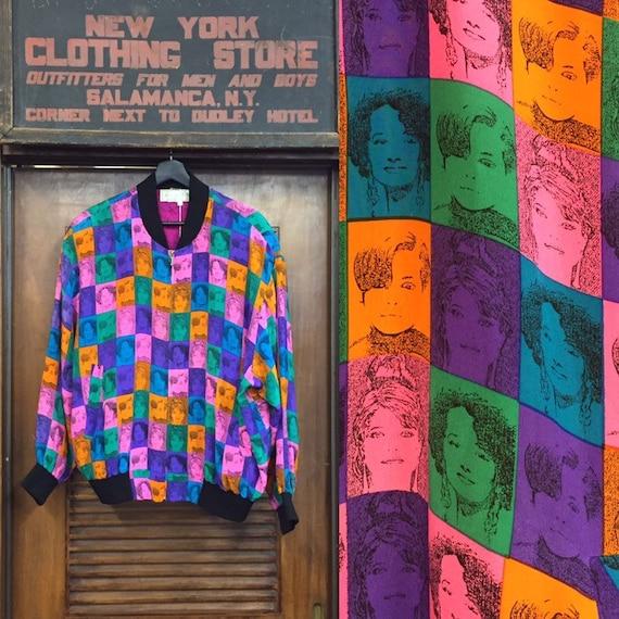 Vintage 1980's Pop Art Faces Bomber Jacket, 1980'… - image 1