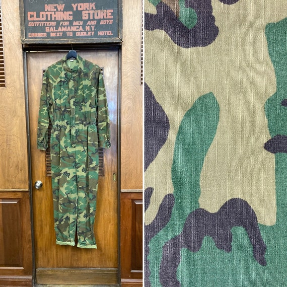 Vintage 1980's Green Camouflage Workwear Jumpsuit
