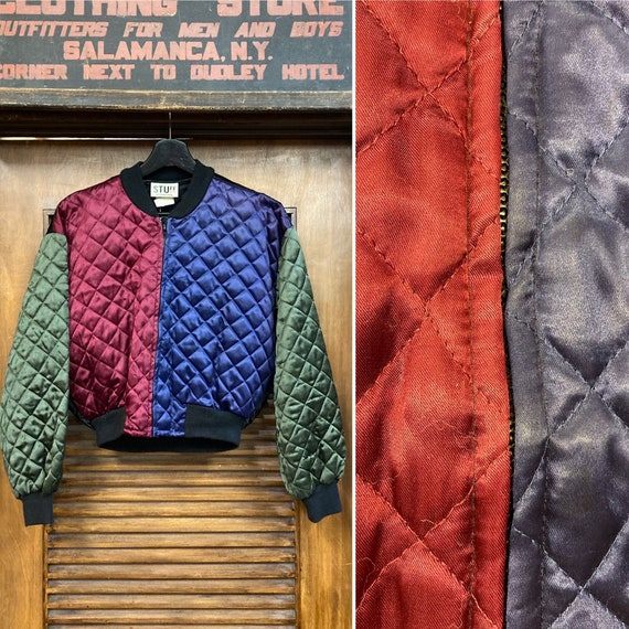 Vintage 1980's Color Block Quilted Bomber Cropped