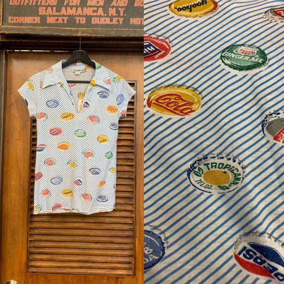 Vintage 1960's Bottle Cap Pop Art Shirt Top, Vinta