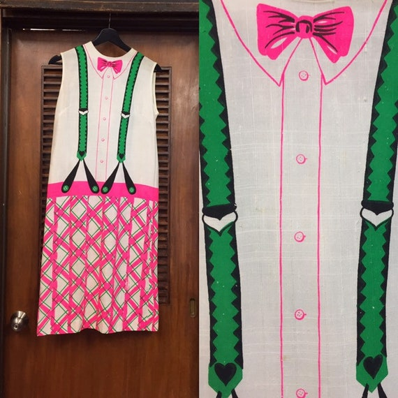 Vintage 1960's Trompe L'Oeil Bowtie & Suspenders P