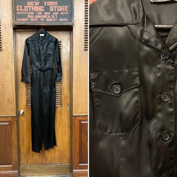 Vintage 1960's Jet Black Belted Jumpsuit, Vintage