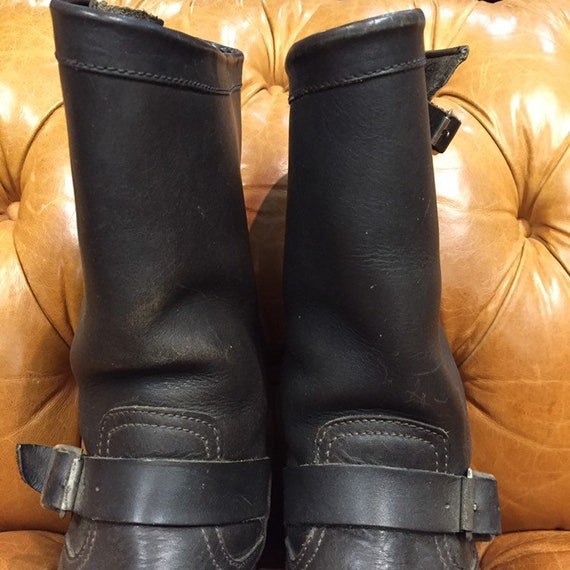 Vintage 1980s, Black Leather Boots, Motorcycle Bo… - image 4