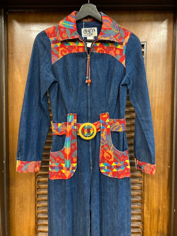 Vintage 1970's Denim Woven Jumpsuit, Vintage Jump… - image 3