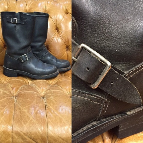 Vintage 1980s, Black Leather Boots, Motorcycle Boo