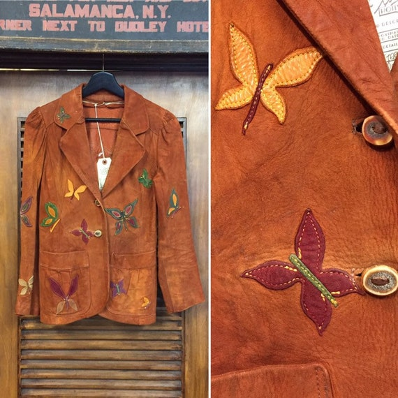 Vintage 1960's Butterfly Embroidery Detail Suede J