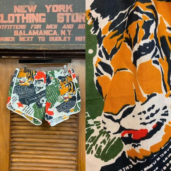 Vintage 1960's Tiger & Racing Pop Art Shorts, Vint