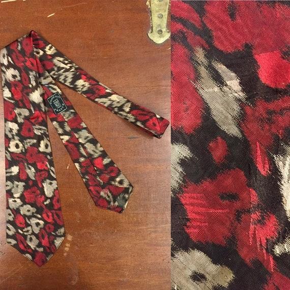 Vintage 1930's, Silk, Floral Brush Stroke Design S