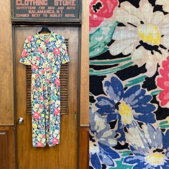 Vintage 1930's Black Background Floral Print Dress
