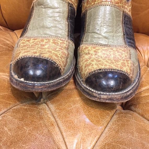 Vintage 1960's, Patchwork Western Boots, Rockabil… - image 3