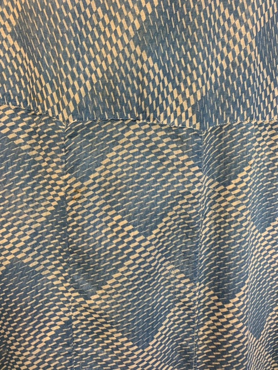 Vintage 1930's Blue & White Semi Sheer Optical Sq… - image 6