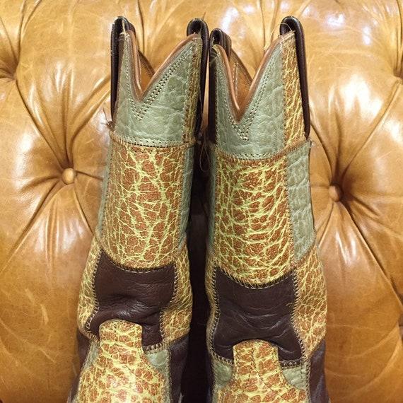 Vintage 1960's, Patchwork Western Boots, Rockabil… - image 4