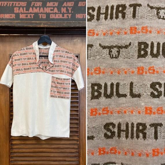 Vintage 1960's Bull Shirt Pop Art Top, 60's Top, 6