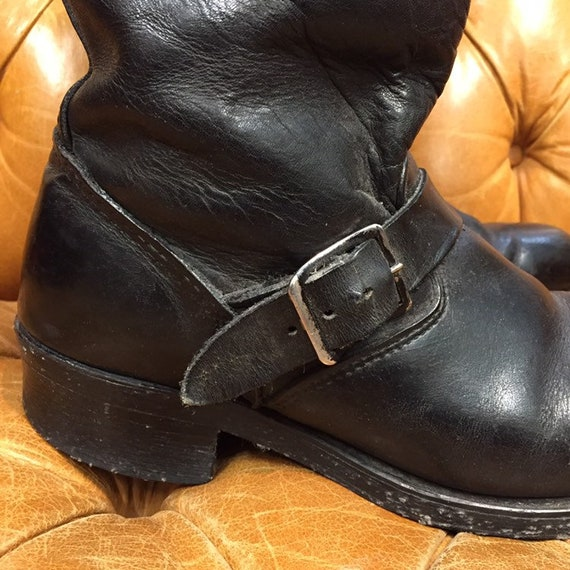 Vintage 1960's, Black Leather Boots, Motorcycle B… - image 9