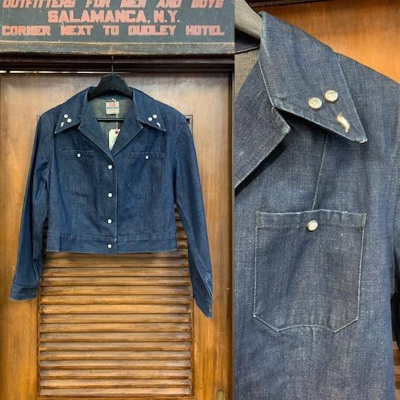 Vintage 1950's Levi's Studded Denim Shirt Jacket,… - image 1