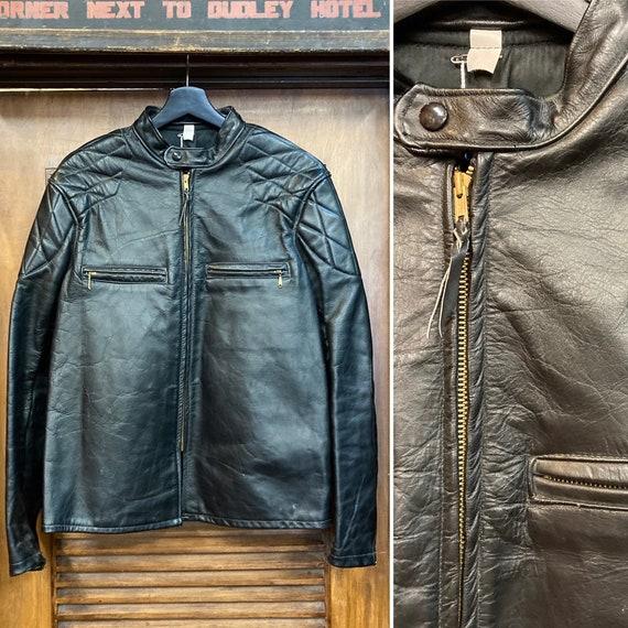 Vintage 1960's Cafe Racer Leather Jacket Great Det