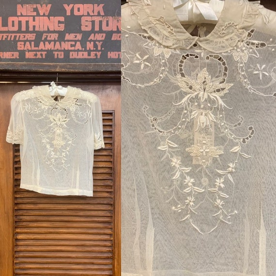 Vintage 1910's Net Lace & Embroidered White Top, V