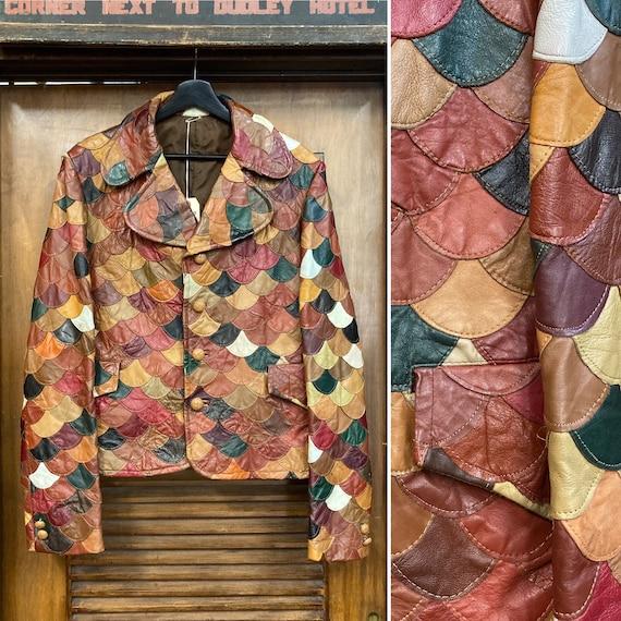 Vintage 1960's Scallop Patchwork Leather Jacket, 6