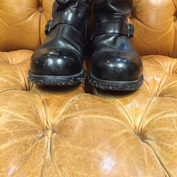 Vintage 1960's, Black Leather Boots, Motorcycle B… - image 3