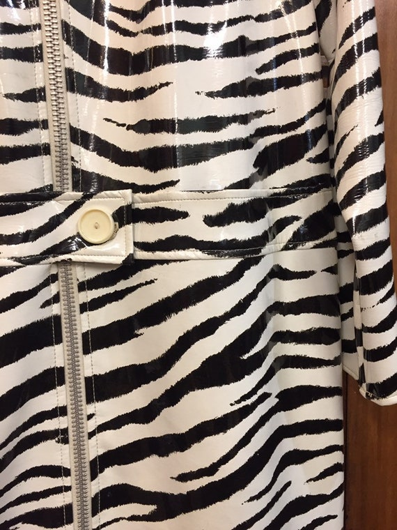 Vintage 1960s Zebra Print Mod Vinyl Coat, Vintage… - image 5